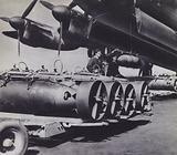 Bombs being loaded onto an RAF bomber aircraft, World War 2