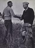 British and American generals Bernard Montgomery and Dwight D Eisenhower meeting in Tunisia, World War 2, April 1943