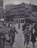 German prisoners of war being marched through the streets of Antwerp after the liberation of the city by the British Army, World War 2, September 1944