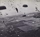 British soldiers of the Parachute Regiment landing at Arnhem, Netherlands, during Operation Market Garden, World War 2, September 1944