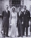 The Duke of Windsor and Wallis Simpson on their wedding day with solicitor A G Allan (left) and best man Major E D Metcalfe, 1937