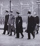 The Duke of Windsor and the Dukes of Edinburgh, Gloucester and Kent in the funeral procession of King George VI, London, 1952