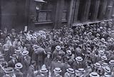 Stockbrokers and their clerks on Throgmorton Street after the closure of the London Stock Exchange on 31 July 1914 following market panic caused by the outbreak of the First World War