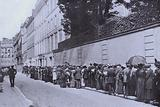 Queue of people requiring passports outside the British Embassy in Paris after the outbreak of the First World War, 1914