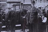Lord Kitchener, British Secretary for War, and Lord Haldane, the Lord Chancellor, arriving at the War Office, London, …