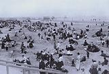 Refugees on the beach at Ostend, Belgium, World War I, 1914