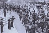 French cuirassiers leaving Paris for the front, World War I, 1914