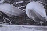 German Zeppelin airships in their giant storage shed