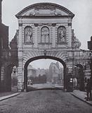 Temple Bar, at the Strand end of Fleet Street, London, before it was relocated to Theobald's Park, Cheshunt, …