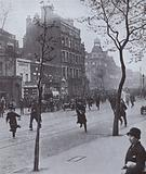 Police running to break up an incident at Elephant and Castle, London, during the General Strike, 1926