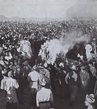 The funeral pyre of Mahatma Gandhi after his assassination, India, 1948
