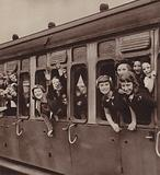 Children being evacuated from London in anticipation of German bombing of the city, World War II, 1940
