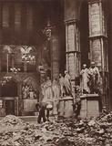 Bomb damage inside Westminster Abbey, London, during the Blitz, World War II, 1941