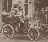 The Prince of Wales, the future King George V, in the first Rolls-Royce car, with CS Rolls at the wheel