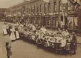 Street party celebrating the signing of the Treaty of Versailles restoring peace after the First World War, 1919