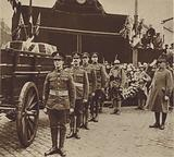 Marshal Foch saluting the coffin of the Unknown Warrior at Boulogne on its journey from St Pol to London, 1920