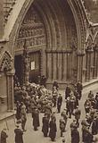 The coffin ot the Unknown Warrior being carried into Westminster Abbey for burial, Armistice Day, 1920