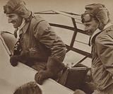 British aviator A E Clouston and Daily Express Air Reporter Victor Ricketts after completing a record-breaking flight to New Zealand and back, 1938