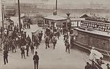 Well-guarded railway junction at Willesden, London, during the British railway strike of August 1911