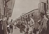 Soldiers of the British Expeditionary Force travelling by train through France to the front, World War I, 1914