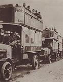 Scottish troops travelling to the front in France on London buses, World War I, 1914