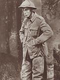 Captured young British soldier in a German prisoner of war camp, World War I