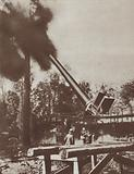 German heavy railway gun Big Bertha bombarding Paris from 76 miles away in the Foret de Coucy, World War I, 1918