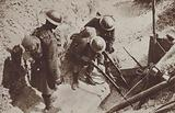 British soldiers of the 4th Seaforth Highlanders investigating a captured German dug-out during the Battle of the Scarpe, World War I, August 1918