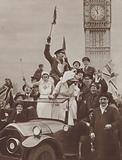 Celebrations in Whitehall, London, at the news of the Armistice ending the First World War, 11 November 1918