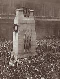 First commemoration of Armistice Day at the temporary cenotaph, Whitehall, London, 11 November 1919