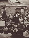 Nancy Astor, the first woman to be elected an MP in Britain, addressing a crowd during the election campaign, 1919