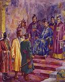 Venetian merchants Niccolo, Maffaeo and Marco Polo meeting Kublai Khan, Emperor of China, 1274