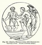 Cumba, Charon's boat, with Hermes conducting a soul