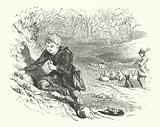Boy picking primroses