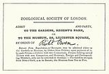 Ticket to the Zoological Society of London