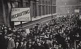 British army volunteers assembling at Southwark Town Hall in response to Lord Derby's recruitment campaign, London, …