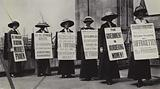 Suffragettes protesting wearing sandwich boards, 1914