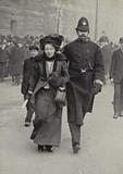 British suffragette Christabel Pankhurst arrested by the police