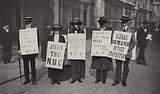 Masked procession of British clerks protesting, 1913