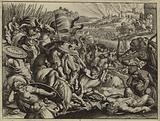 Israelites defeating the Benjamites and burning their city