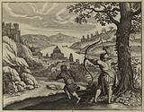 Jonathan firing arrows to warn David of Saul's intention to have him killed