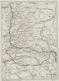 Map of the Western Front at the beginning of the Allied offensive on the Somme, France, World War I, July 1916