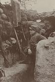 French soldiers using a periscope in the trenches, World War I