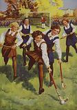 Schoolgirls playing hockey