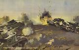 Battle between Allied and German tanks, World War II