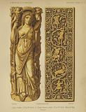 Female goddess figure, 3rd-4th Century, and carved ivory plaque, 10th-11th Century