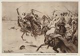 Skirmish between Bedouins and British cavalry beside the Suez Canal, Egypt, World War I