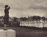 Princess Elizabeth taking the salute, May 1945