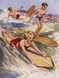 Boys and girls surf boarding