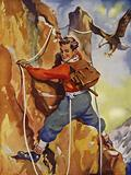 Boy mountaineering with ropes